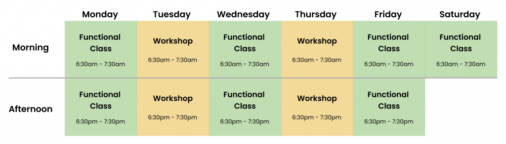 Functional training studio timetable